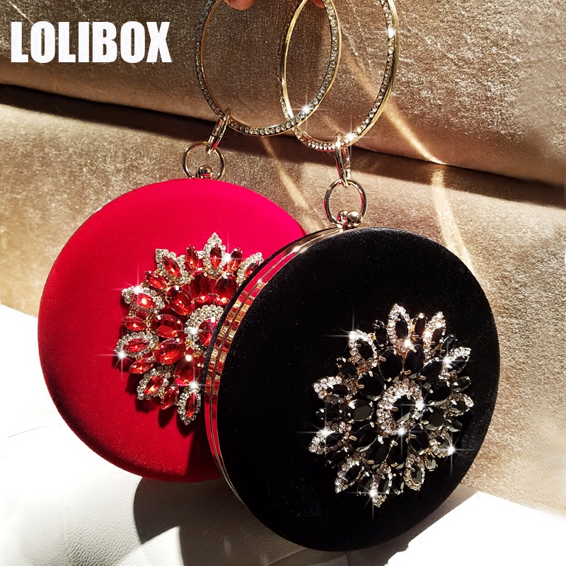 LOLIBOX Women Bags Women Evening Clutch Bags Velvet Diamond Ring Handbags Small Round Clutch Bag Day Party Clutches Purses 2017 luxury flower evening bag handmade diamond clutch bags women crystal butterfly handbags party velvet clutches purses jxy784