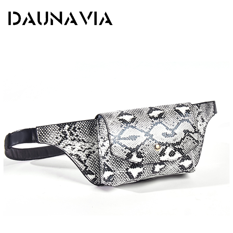 DAUNAVIA Serpentine Fanny Pack Ladies New Fashion Women PU Leather Waist Belt Bag Waist Bag Leather Small Shoulder Chest Bags