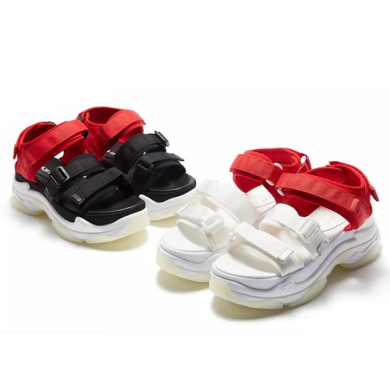 Sandales Plage Femmes blanc Chaussures Noir Femme D'été Coins Ete Cuir De En Ugi 2018 Respirant Dames Véritable Rqw44
