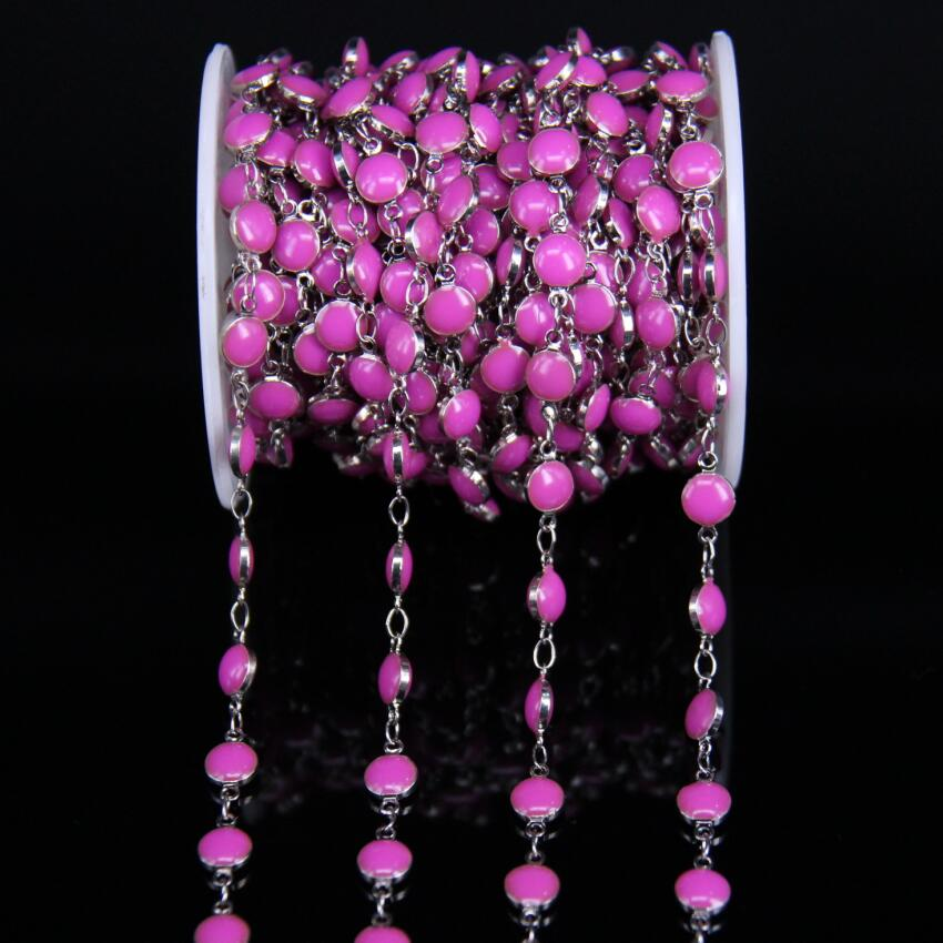 Plated Silver Copper chains Pink Enamel 6mm Coin Beaded Rosary Chains Fuchsia Lampwork Flat Round Beads Links Chains Jewelry in Jewelry Findings Components from Jewelry Accessories
