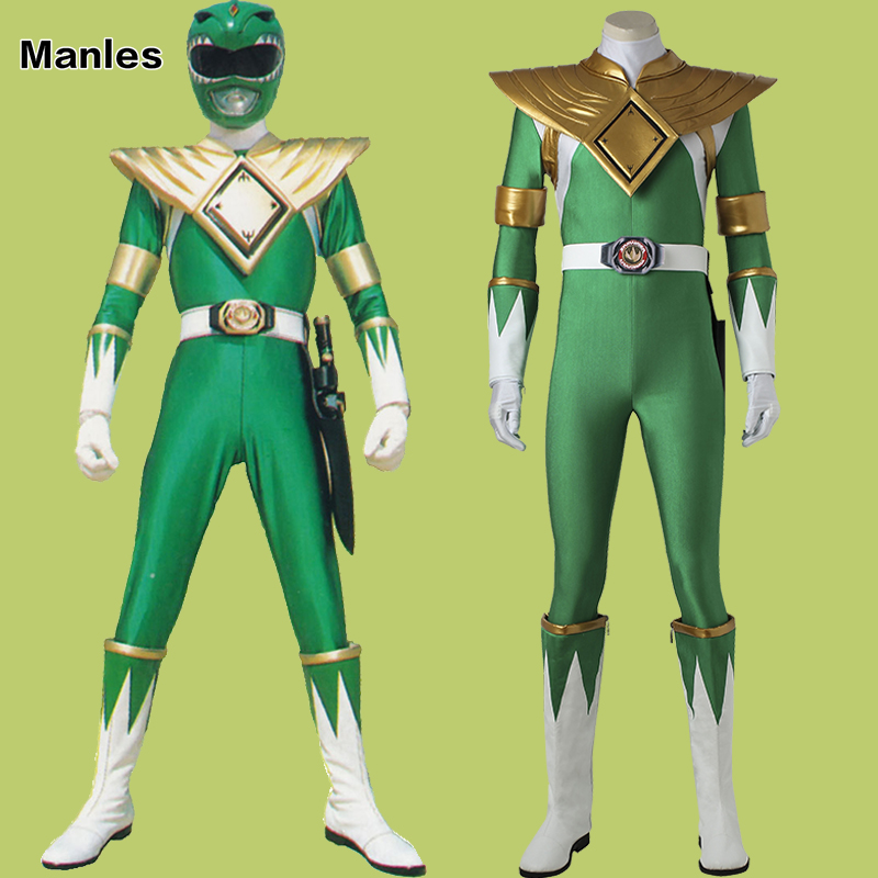 Costume For Burai Dragon Ranger Jumpsuit Onesies Cosplay Halloween Zyuranger Green Adult Men Custom Made Armor Holster Belt