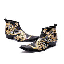 High Quality Animal Embroidery Men Boots Black Genuine Leather Army Military Med Heel Pointed Toe Cowboy boots Chaussure
