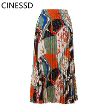 купить CINESSD 2019 Summer Autumn Pleated Skirt Fashion Contrast High Waist A-Line Print Elegant Street Skirt в интернет-магазине