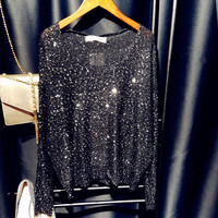 sequins sweater pullover and jumper v neck women oversize beading sweaters tops 2017 spring new silver black pink blue red