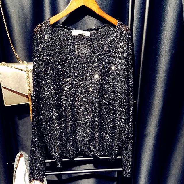 Блестками свитер свитер и джемпер v шеи женщины негабаритных бисероплетение свитера топы 2017 весна новый серебро черный розовый синий красный