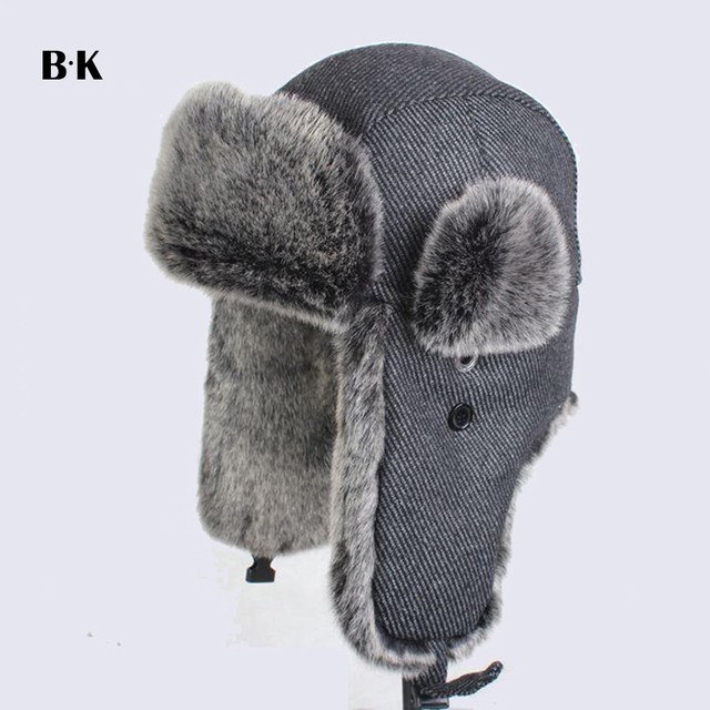 Winter Warm Ear Flaps Bomber Faux Fur Caps Unisex Wind Proof Trapper Hat  Snow Ski Cap e52be260f594
