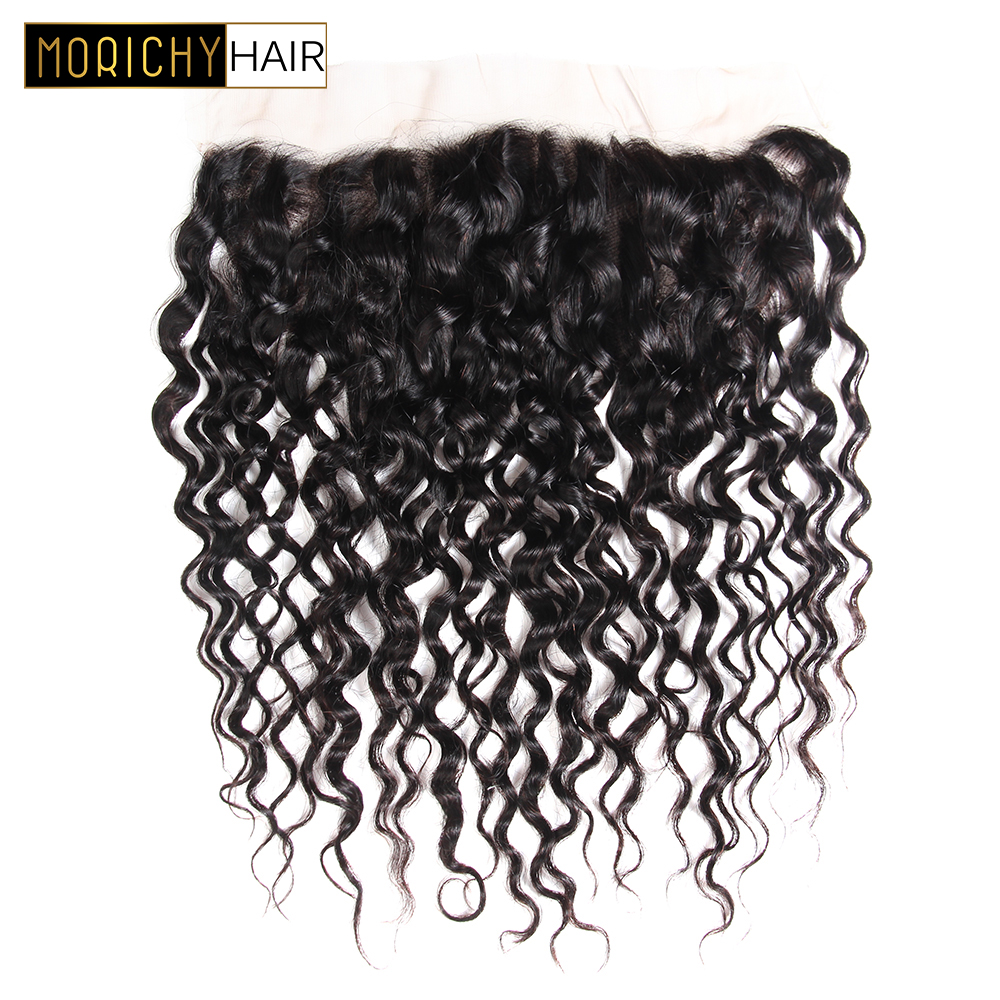 MORICHY Remy Hair Water Wave Frontal Free Part Brazilian Lace Frontal Closure Wet and Wavy Human Hair Natural Color