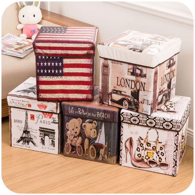 Exceptionnel Retro Print Film Storage Stool, Toy Storage Box Covered Multi Function Folding  Storage Box