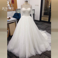 JUSERE High end Customize A line Crystal Beading Long Sleeves Open Back Fake Sweetheart Illusion Neck Wedding Dress 2018