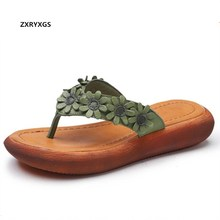 2019 New Light Comfort Summer Women Sandals Fashion Slippers Flip-flops Flowers Real Leather Slippers Women Shoes Casual Sandals