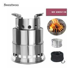 Camping Stove Portable Stainless Steel Wood Equipment For Outdoor Hiking Traveling Picnic BBQ