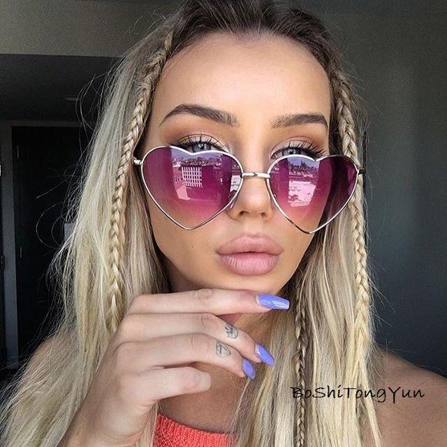 Ladies Heart Shaped Sunglasses Metal Women Brand Designer Fashion Rimless LOVE Clear Ocean