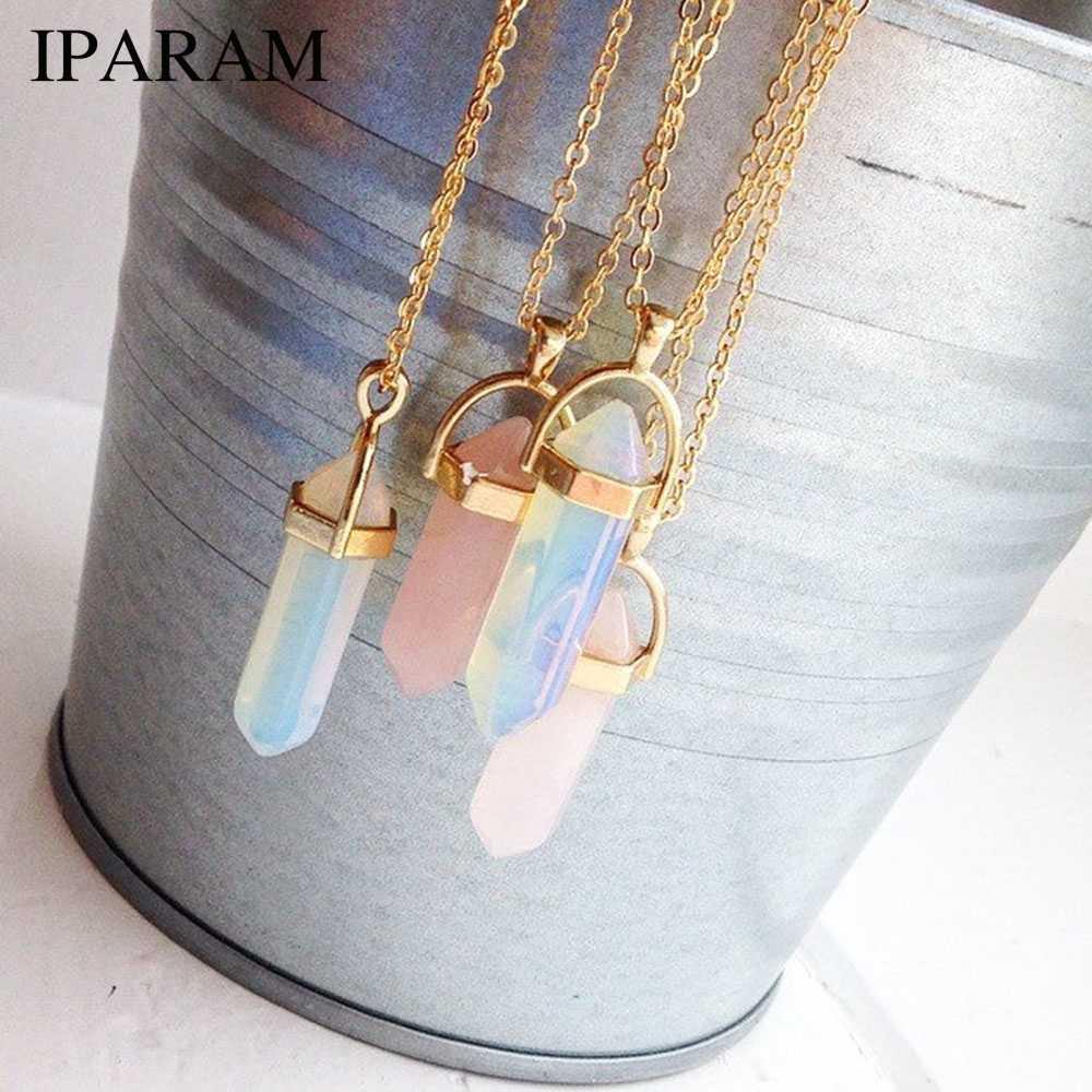 Iparam moda tendência cristais colar boêmio hexágono opala pingente colar feminino hexágono cristal colar presente 2018 novo