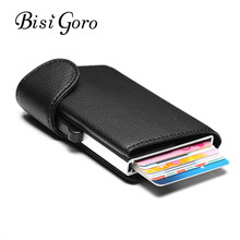 BISI GORO 2019 New Style RFID Card Holder Blocking  Metal Wallet Single Box Minimalist Wallet Aluminium Card Package For Men