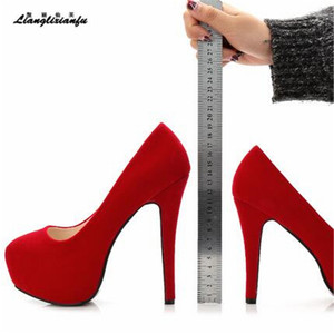 Image 1 - LLXF Fashion women Flock shoes Nightclub Stage performance 14cm Thin High heeled Shoes Ladies Party Wedding zapatos mujer pumps