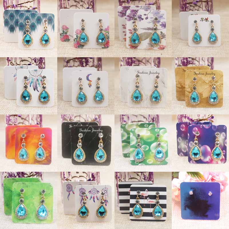 16designs Colorful Print Earring Package Tag Card 5*5cm Marble/ Flower Pattern Drop Earring Packing Card 25pcs+25oppbag/lot