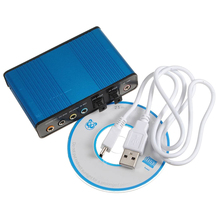 Blue External USB 6 Channel 5.1 Audio Sound Card optical audio S / PDIF Optical sound card Box