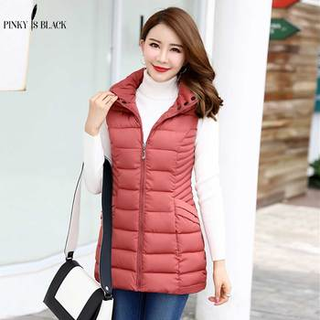 Pinky Is Black New Arrival 2017 Women Winter Vest Long Jacket Sleeveless Hooded Down Cotton Slim Waistcoat Warm