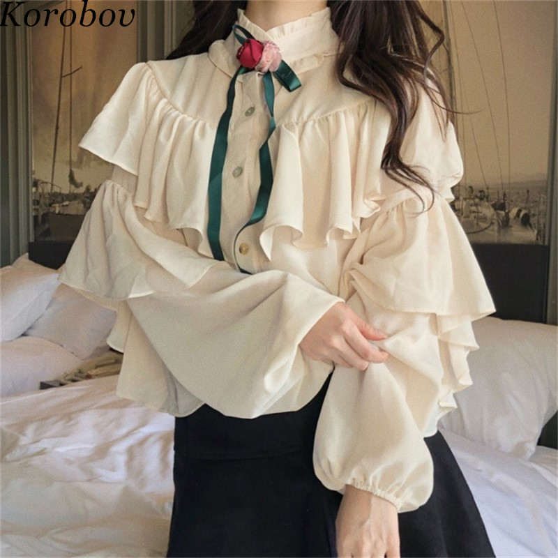 Korobov Korean Casual Ruffles Women Shirts Stand Collor Sweet Girl Style Blouse Spring Long Sleeve Female Blusas 76710