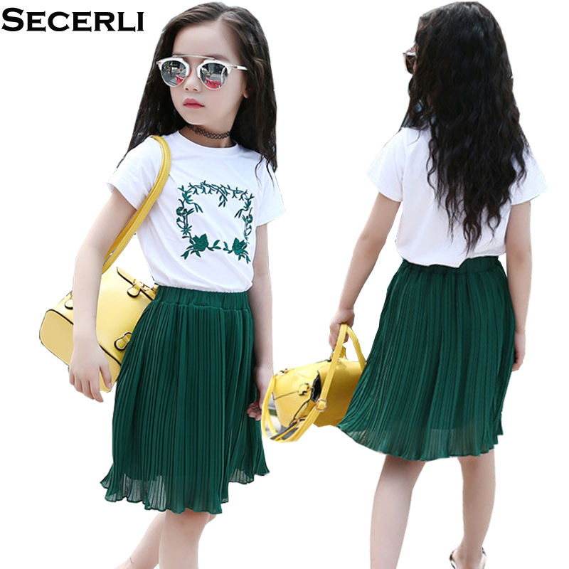Girls Summer Set Dress 2018 Short Sleeve White T-Shirt+Skirt Set Kids Girls Clothing Set 4 6 8 10 12 15 Years Kids 2Pcs Outfits b a1785 new fashion 3 13t kids baby girls clothes set summer children short sleeve t shirt tops skirt 2pcs kids outfit suit