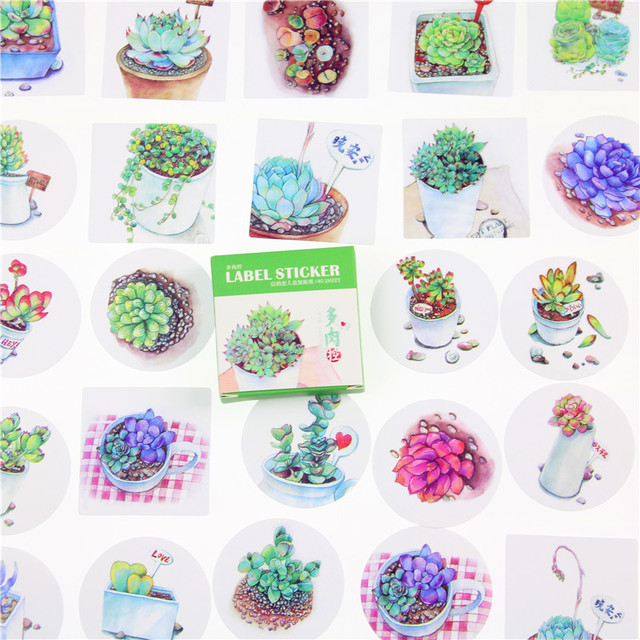 40 Pcs/lot Succulent Mini Lable Sticker Set Decoration Diy Diary Memo Pad Scrapbooking Sealing Sticker Kawaii Stationery