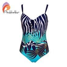 Andzhelika 플러스 사이즈 수영복 섹시 리프 프린트 원피스 수영복 여성 여름 비치웨어 빈티지 수영복 Bodysuit Monokini
