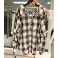 2017 New Blouse Shirt Woman Office Lady Plaid Cotton Ruffles Shirt Plus Size For 50 100kg