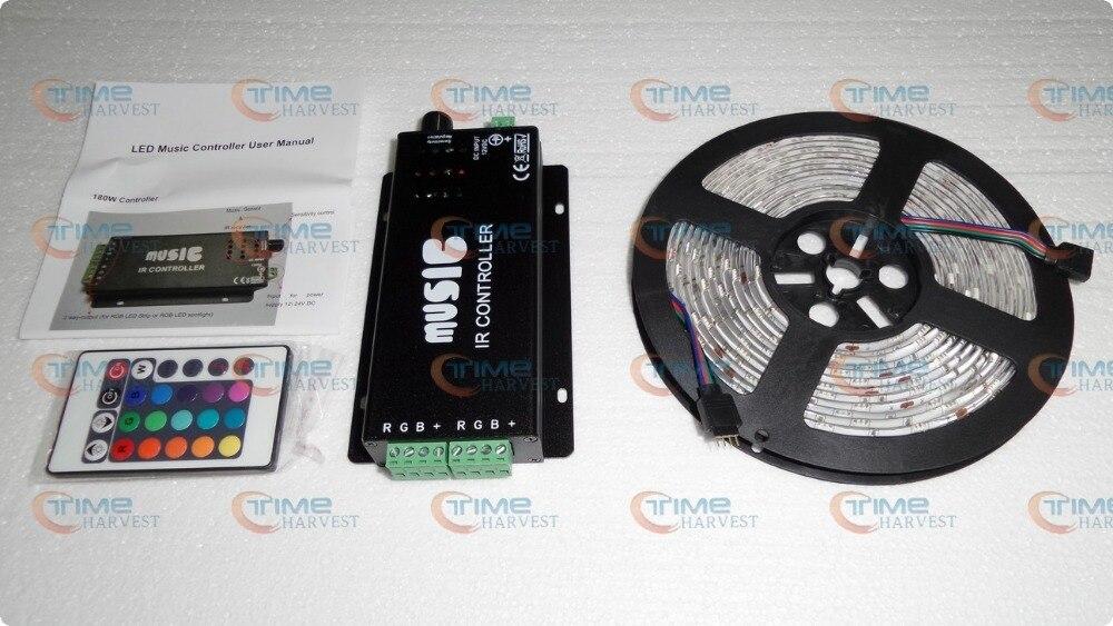 Светодиодный музыкальный контроллер с 5 м SMD 5050 RGB светодиодный полосы 12 V с яркими разноцветными огоньками 30 светодиодный s/M Высокое качество гибкий светодиодный полосы