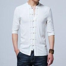 Традиционная китайская одежда для мужчин с коротким рукавом из хлопка и льна в китайском стиле, рубашки для кунг-фу Тай Чи Тан, Стильные топы CN-026