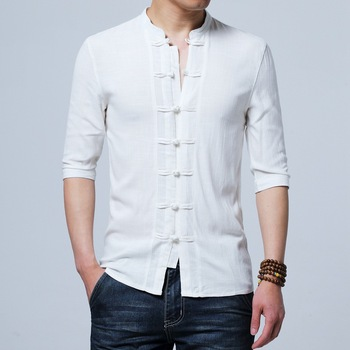 Tradictional Chinese Clothing For Men Half Sleeve Cotton Linen Style Shirts  Kung Fu Tai Chi Tang Suit Tops CN-026