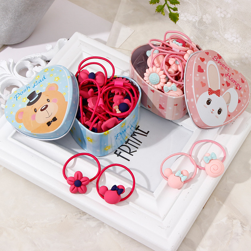 Lovely Heart Box Packed 20PCS Girls Cute Cartoon Flower Elastic Hair Bands Birthday Gift Rubber For Kids Accessories