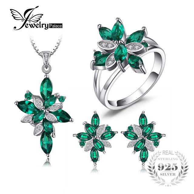 Jewelry Mystic Green Created Emerald Set 925 Sterling Silver Ring Necklace Pendant Earring Clip Women