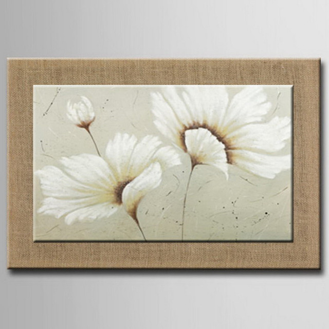 100% Hand Painted White Flower Oil Painting With Frame Oil Painting ...