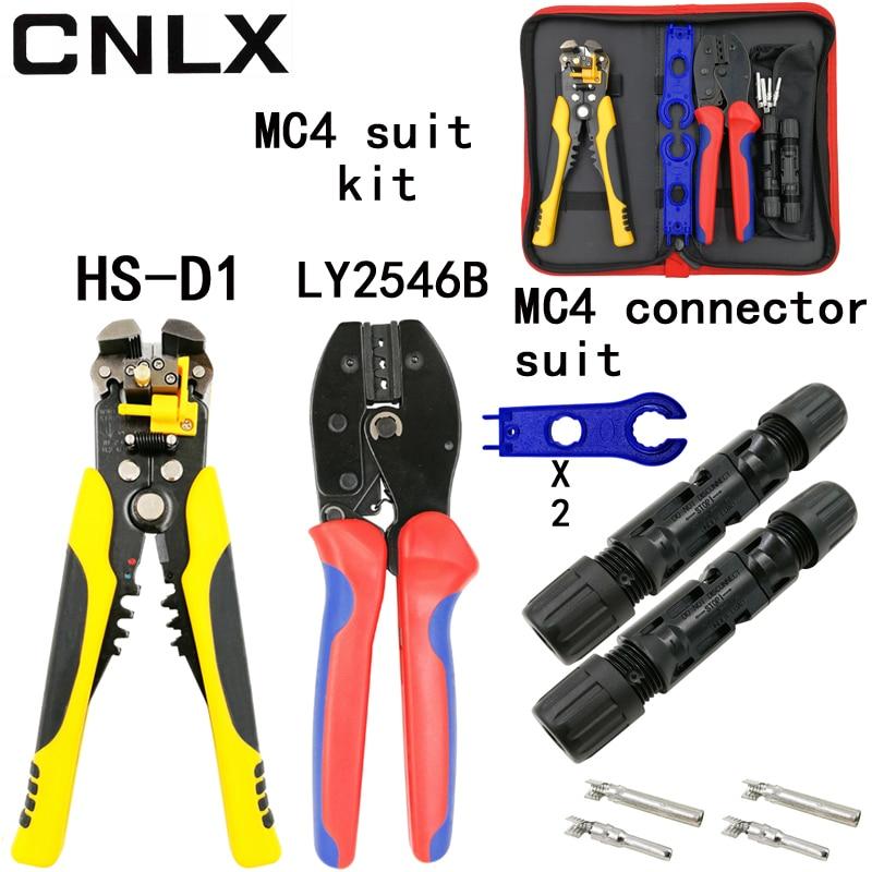 LY-2546B crimpadora 2,5/4/6mm2 14-10AWG MC4 pv cable conector solar macho hembra kit D1 alambre stripping herramientas de corte