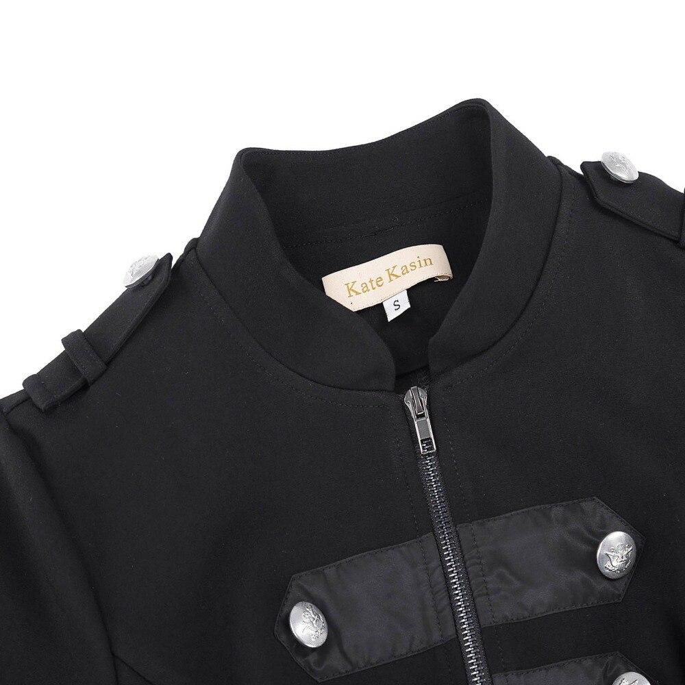 decorado chaqueta negro Kate mujer larga Kasin Vintage cremallera militar gótico manga botón I8IxqaTw