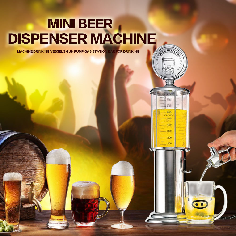 Mini Beer Dispenser Machine with Transparent Layer Design Gas Station Bar Double Gun Pump Drinking Vessels