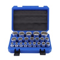 OUTAD 8 36MM Multi Tooth Socket 21PCS Female Socket Wrench Multi Tooth Nuts Heavy Duty Socket Set Durable Repair Tool Hand Tools