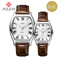 Julius JA 703 Lover Couple's Watch Classic Roman Numbers Pair Watches for Valentine's Gift Tonneau Shape Leather Strap Watch Uhr