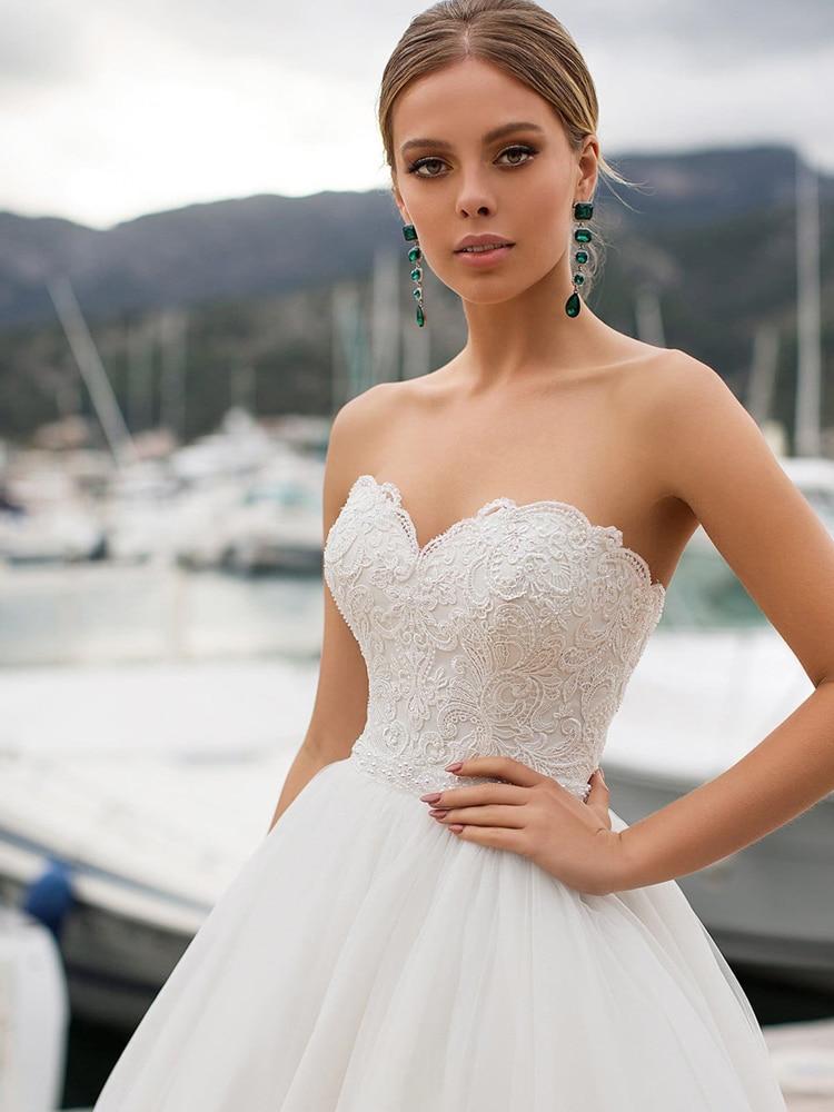 Wedding-Dresses Corset Bridal-Gown Sweetheart Customized Elegant White/ivory Appliqued