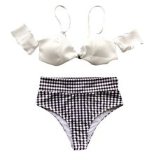 цена на Women Sexy Two Piece Bikini Set Detachable Straps Off The Shoulder Bra High Waist Tummy Control Vintage Polka Dot Printed Thong
