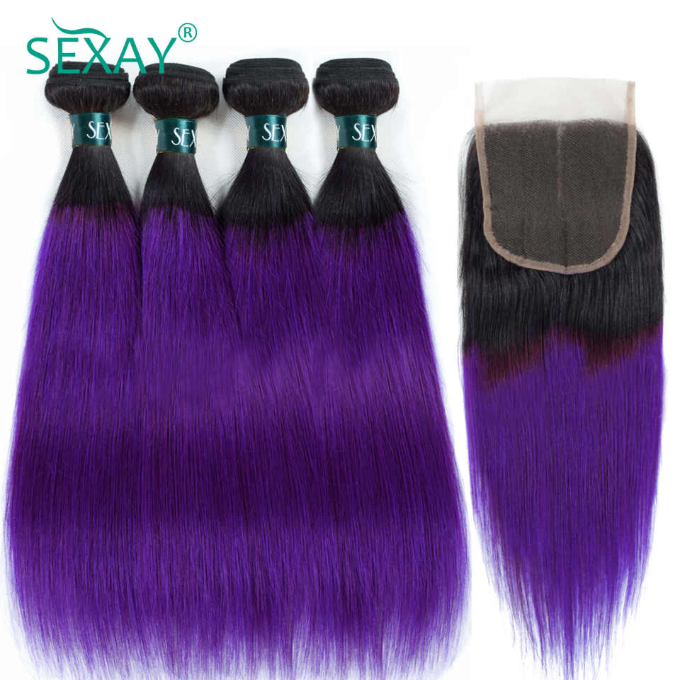 SEXAY Ombre Hair Bundles Straight Dark Purple Ombre Brazilian Human Hair With Lace Closure 4 Bundles With Closures Non Remy Hair