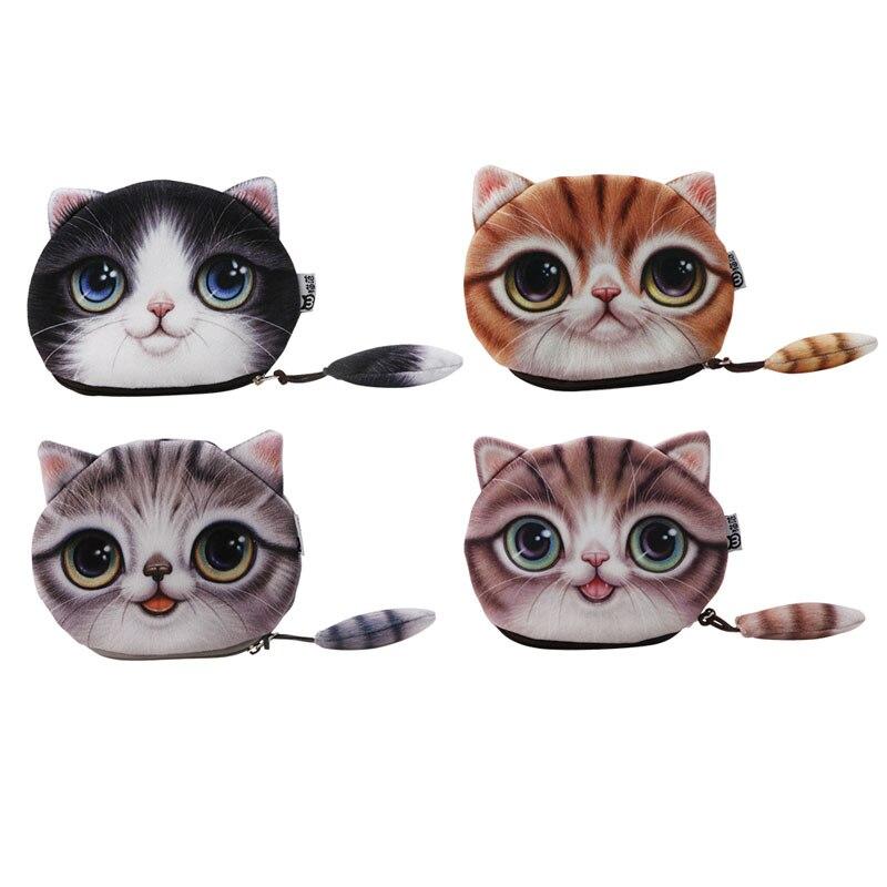 THINKTHENDO Kids Cat Face Zipper Case Coin Girls Purse Wallet Makeup Bag Pouch Lovely vsen hot noctilucent cat zipper coin case purse wallet pouch handbag bag
