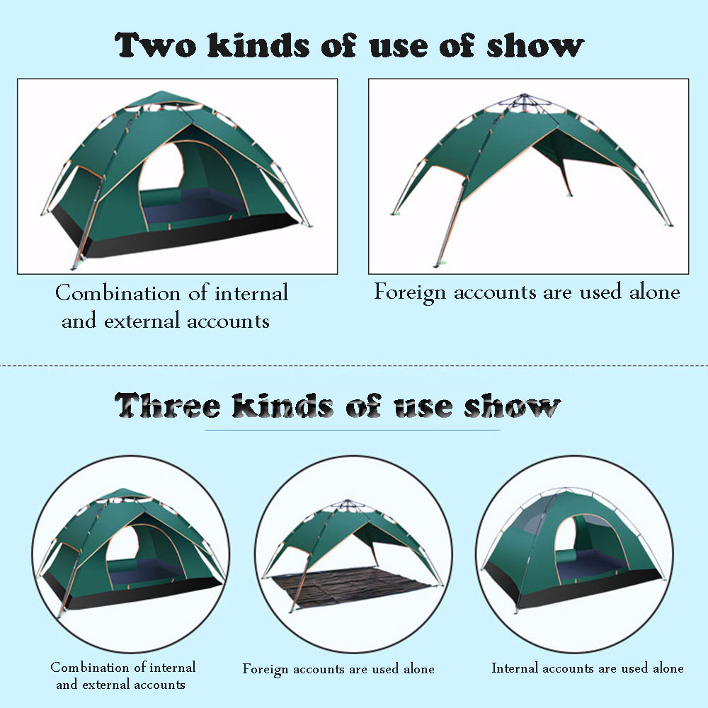 Three ways to use 3-4person Windproof Waterproof Anti UV Double layer Tent Ultralight Outdoor Hiking Camping Tent Picnic tent 3 4 person windproof waterproof anti uv double layer tent ultralight outdoor hiking camping tent picnic tent with carrying bag
