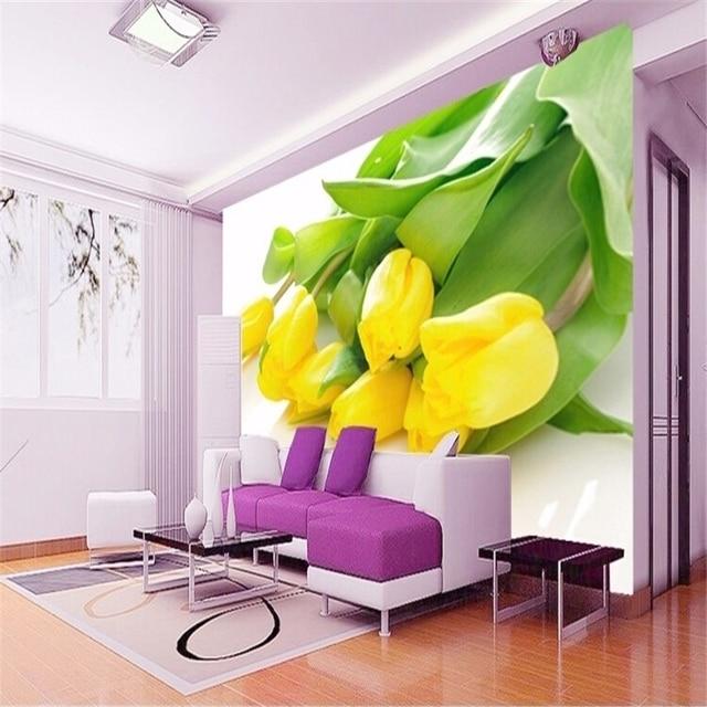 Beibehang foto behang stereoscopische gele tulpen tv achtergrond ...