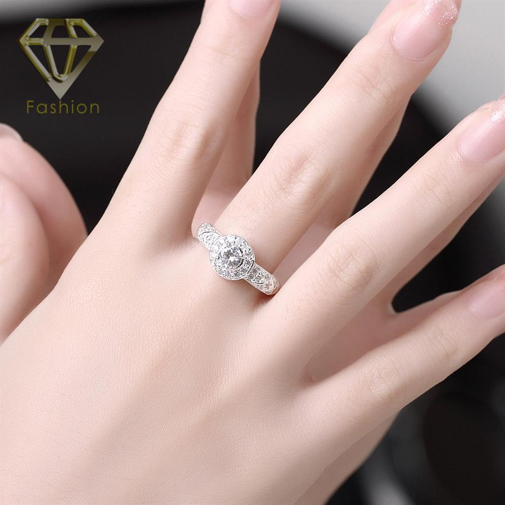 Cheap Promise Rings Trendy Button Shaped Inlaid CZ Crystal Pave ...