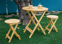 3pcs/Set Wood Patio Outside Garden Yard Folding Roudn Table and Two Stool Indoor Outdoor Furniture Foldable Wooden Garden Set