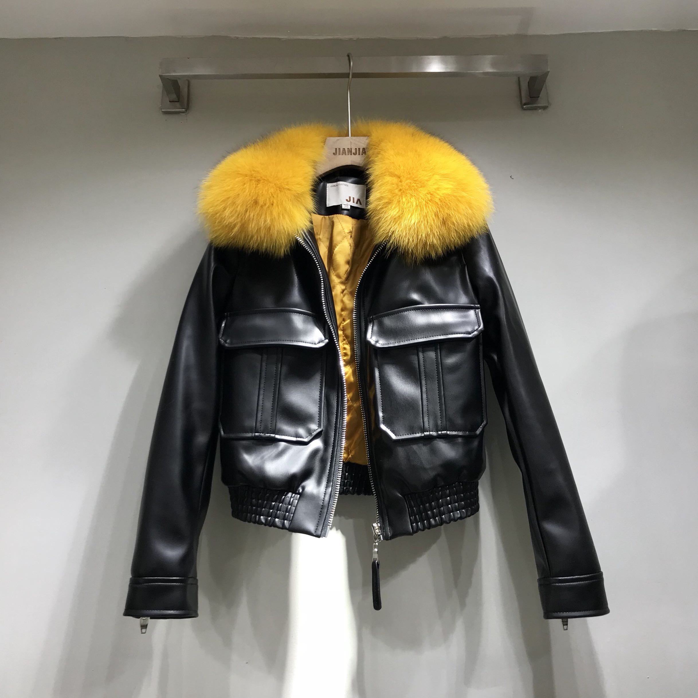 2018 New Full Jaqueta Couro   Leather   Jacket Women Women's   Leather   Jacket Pu Real Fox Fur Collar Zipper Motorcycle Quilted Woman