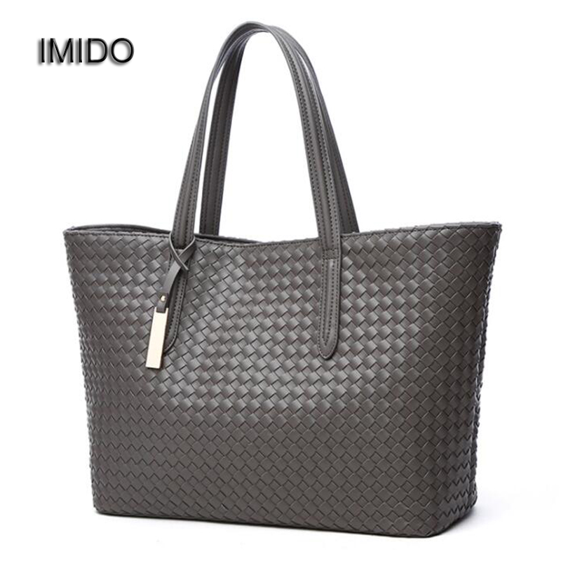 IMIDO Luxury Wave Large Capacity Women Designer Handbags High Quality pu Leather Composite Tote Bag Shoulder Bags Grey HDG046 imido 2017 europe large capacity pu leather bags ladies brand designer bag women handbags tote quality black blue bolsa hdg037
