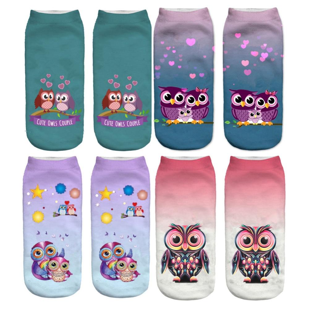 3D Cute Socks Kids Children Cotton Socks Animal Owl Series Meias Calcetines Bebe Spring Summer Low Ankle Socks Length 19cm