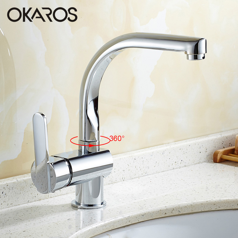OKARSO Basin Faucet Bathroom Water Tap Solid Brass Chrome Finish 360 Degree Rotation Single Handle Water Mixer Tap OKARSO Basin Faucet Bathroom Water Tap Solid Brass Chrome Finish 360 Degree Rotation Single Handle Water Mixer Tap